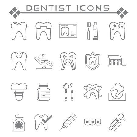 Set of Dentist Related Vector Line Icons. Contains such as Icons as teeth, injections, protection and more