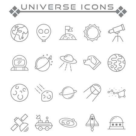 Set of universes Related Vector Line Icons. Contains such as Icons as globe, planets, satellites, astronauts and more Vettoriali