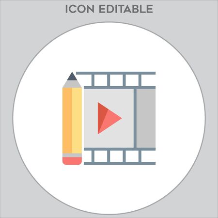 Film movie icon vector, in trendy flat style isolated