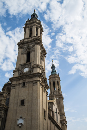 pillage: view tower of Basilica of Our Lady of the Pillar in Zaragoza,Aragon, Spain