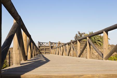 wooden foot bridge and stairs to the beach. Guardamar del segura, Alicante . Spain