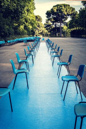 perspective of blue carpet on the floor ready for an event