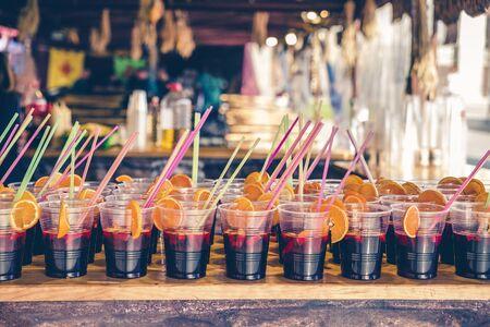 plastic glasses with sangria drink on a bar in spain Reklamní fotografie