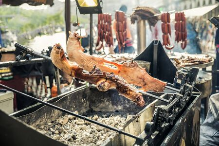 view of pig grilled on spit over the embers 免版税图像