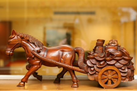 statuette: Wooden carved horses  Stock Photo