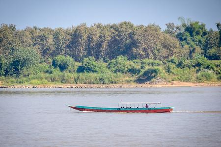 mekong: Boat in Mekong river Stock Photo