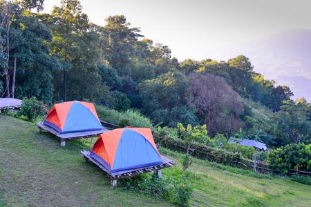 accommodation: tent accommodation and landscape Stock Photo