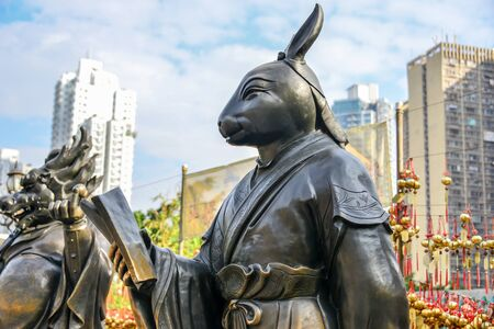Hong Kong god statue in public park Banque d'images