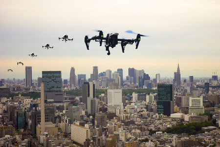 Flying through the town of drones Tokyo Japan image