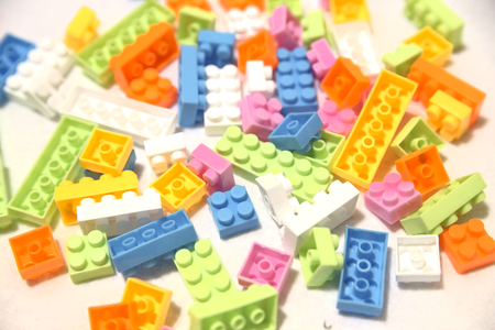 yellow lego block: toy blocks Stock Photo