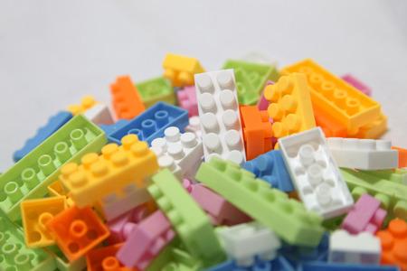 yellow lego block: toy blocks Stock Photo