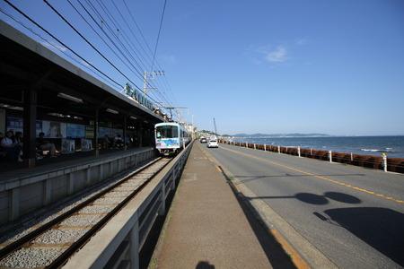 kamakura: KAMAKURA, JAPAN-June 4: Enoden Line in Kamakura, Japan on June 4, 2015. Enoshima Electric Railway, has 100 years of history, links the central Shonan area, Kamakura and Fujisawa. Editorial