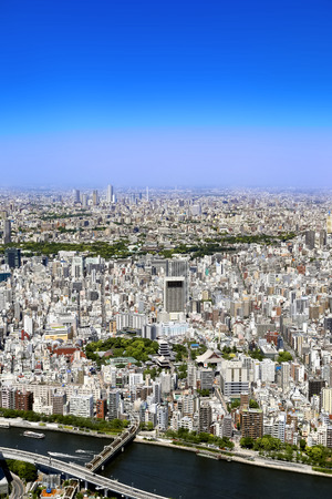 Scenic aerial shot of Tokyo - blue sky and beautiful Banque d'images