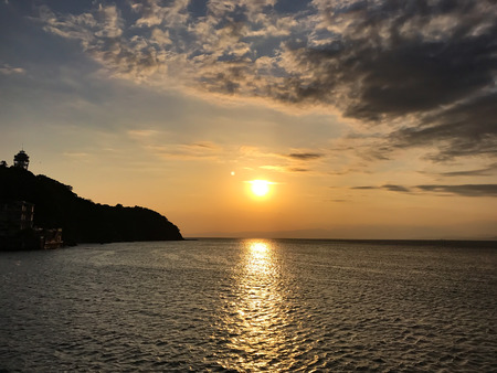 Sunset view of Enoshima - Nov. 6, 2016: Fujisawa, Japan - Enoshima landscape. Stock Photo