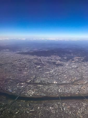 大阪の上空からの風景 写真素材