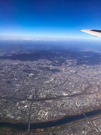 Scenery from the sky above Osaka Stock Photo