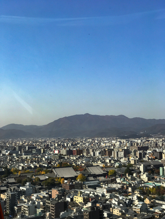 Ultra wide panorama of Arashiyama and Kyoto city in Japan