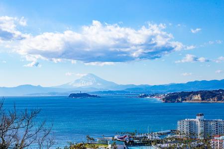 enoshima: Mount Fuji and Enoshima,Shonan Kanagawa,Japan