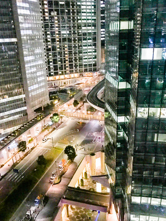 Night office street in Shiodome,TOKYO,JAPAN