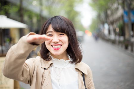 A woman with a cute smile