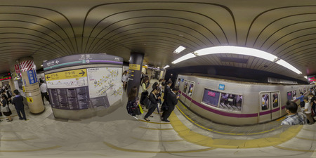 TOKYO, JAPAN - October 02, 2018: panorama 360 angle view in SHIBUYA Station of TOKYO DENENTOSHI Line in Tokyo, Japan.