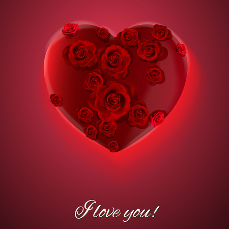 postcard background: Vector. Red background. Postcard heart. I love you. Valentines day