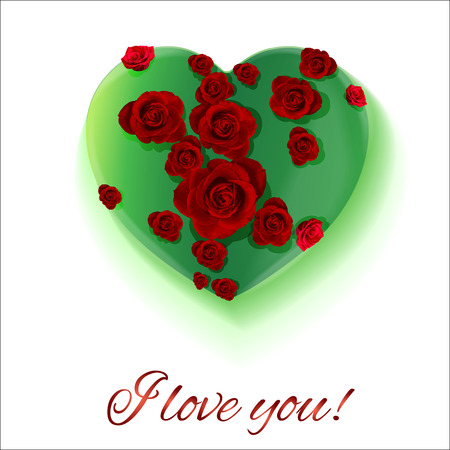 postcard background: White background. Postcard heart. Valentines day. I love you. Flowers