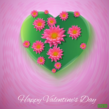 postcard background: Pink background. Postcard heart. Valentines day. I love you. Flowers
