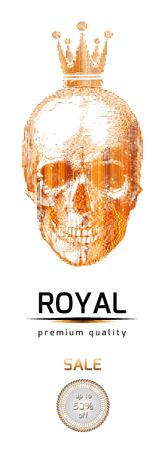 Advertising banner. Vector Golden skull with the crown. Royal great discounts. VIP sale. eps 10