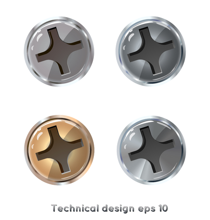 Screw heads - vector drawing isolated on white background. Silver, gold, steel.