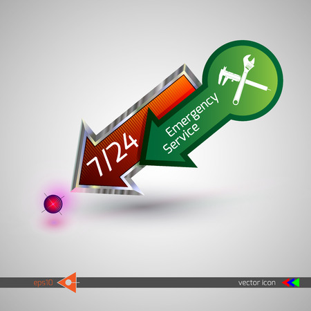 24 hr: 247 support. Emergency service. On white background. Badge icon vector illustration.