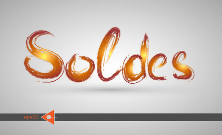 Sale, soldes inscription. Smears, stains. Colorful, sunny, by hand Illustration