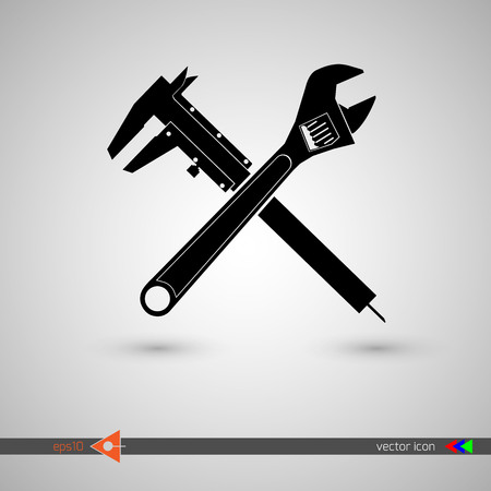 wrench crosswise icon, on white background. Illustration