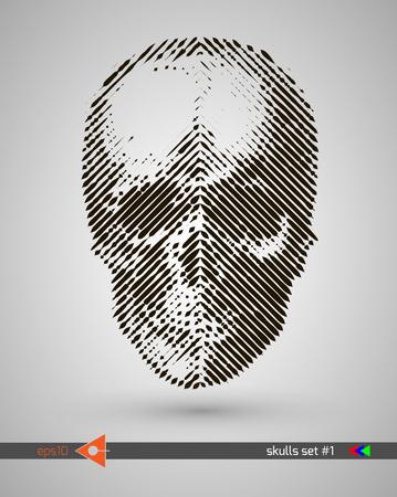 ハーフトーンの頭蓋骨。デザイン要素。招待状、パーティ。看板、チラシ。ミュージカルのポスター。