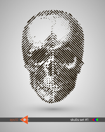 Halftone skull. Design element. Invitation, party. Billboard, flyer. Musical poster.