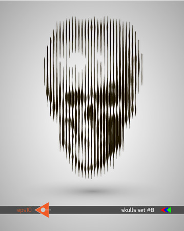 Halftone skull, line, Wave. Design element. Invitation, party. Billboard, flyer. Musical poster.