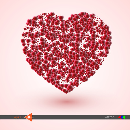 Vector heart pink and red. Symbol and logo heart pixel. Valentines day. New Year, Christmas black and pink background. Pink, red, violet color. Illustration