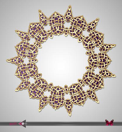 Vector Metal gold. Celtic ligature ornament. Round Frame