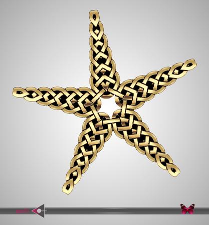 Vector Metal gold. Celtic ligature ornament. Star