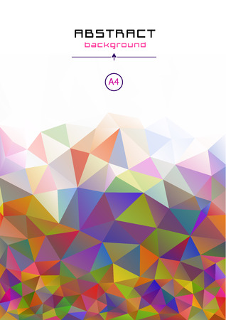Leaflet, A4 format. Stock Vector. Low poly background. All the colors of the rainbow. Futuristic design. Illustration