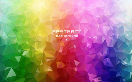 추상 낮은 폴라리스 배경. 미래의 패턴입니다. 빨강, 파랑, 노랑, 녹색. 가볍고 어둡고 스트레칭. 기하학적 인 다각형 디자인. 여러 가지 빛깔의. 따뜻한 색상과 그늘. 무지개의 모든 색상.