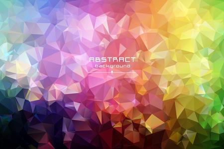 低ポリ三角形の背景を抽象化します。未来のパターン。赤、青、黄色、緑。光に暗い、ストレッチします。ジオメトリの多角形デザイン。多色。温