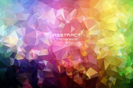 Abstract low poly triangles background. Futuristic pattern. Red, blue, yellow, green. Light to dark, stretching. Geometric polygonal design. Multicolor. Warm colors and shades. All colors of the rainbow.