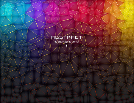 Abstract low poly triangles background. Futuristic pattern. Geometric polygonal design. Multicolor. Warm colors and shades. All colors of the rainbow. Red, blue, yellow, green. Light to dark, stretching.