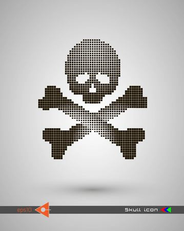 Halftone skulls. Skull icon. Symbol of death, danger, war, death, pirate. Object on a white background.