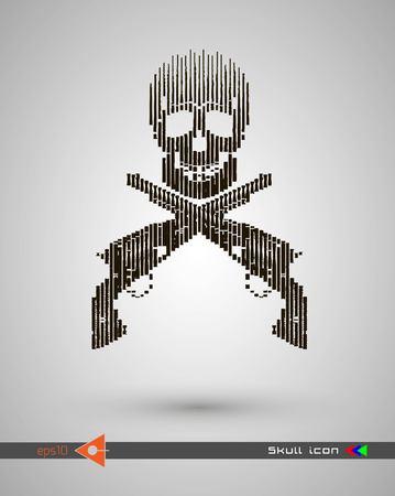 Crânes de demi-teintes de vecteur. Icône de crâne. Symbole de la mort, danger, guerre, mort, pirate. Objet sur fond blanc Revolver, armes, armes à feu. Vecteurs