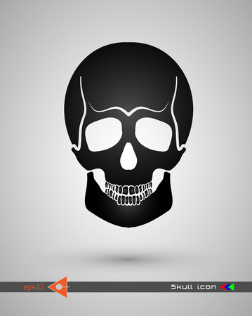 Vector halftone skulls. Skull icon. Symbol of death, danger, war, death, pirate. Object on a white background. Flat style. Illustration