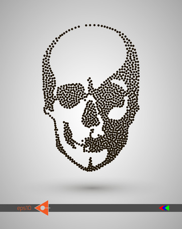 Vector halftone skulls. Skull icon. Symbol of death, danger, war, death, pirate. Object on a white background. Bubbles, dot