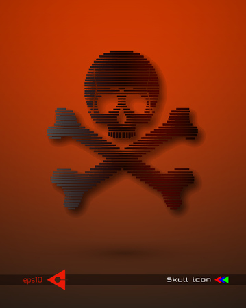 Vector halftone skulls. Skull icon. Symbol of death, danger, war, death, pirate. Object on a white background. Music party. Illustration