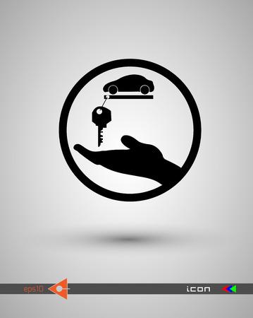 Car key black icon.